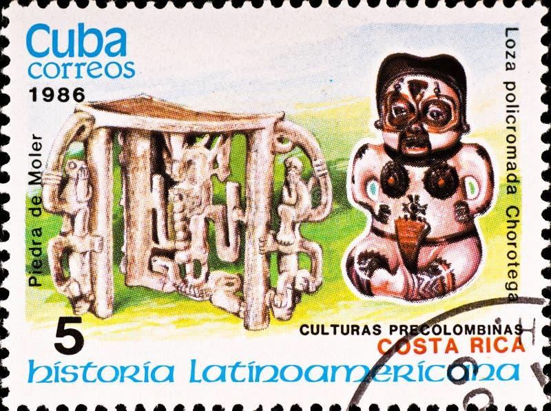 De postzegel toont de cultuur van voorbeeldCosta Rica stock afbeeldingen