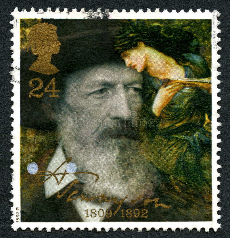 De Postzegel van Alfred Lord Tennyson het UK royalty-vrije stock fotografie