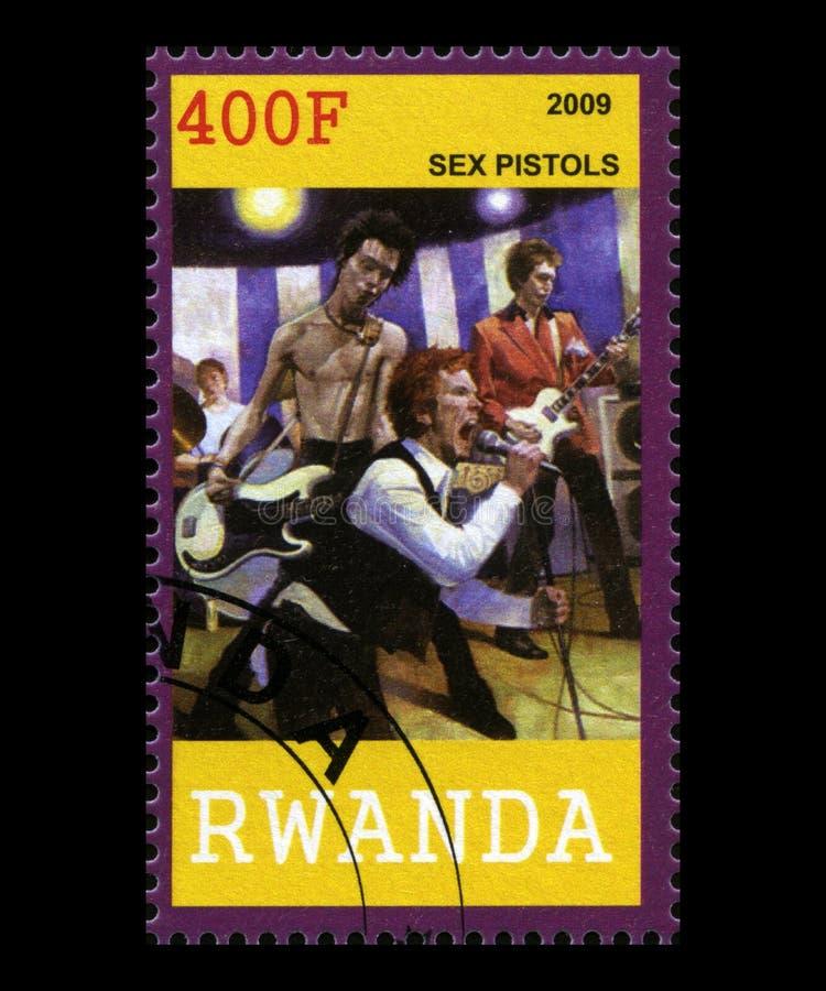 De Postzegel van Sex Pistols van Rwanda royalty-vrije stock fotografie