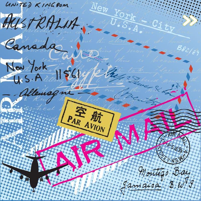 De postzegels van het luchtpost vector illustratie