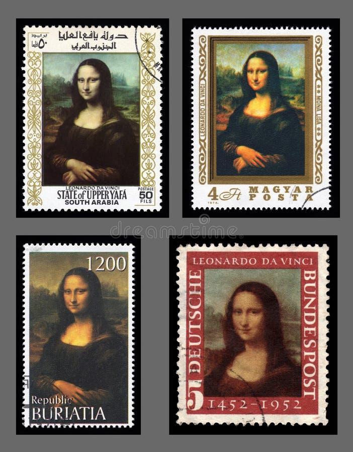 De postzegels van Mona Lisa royalty-vrije stock fotografie