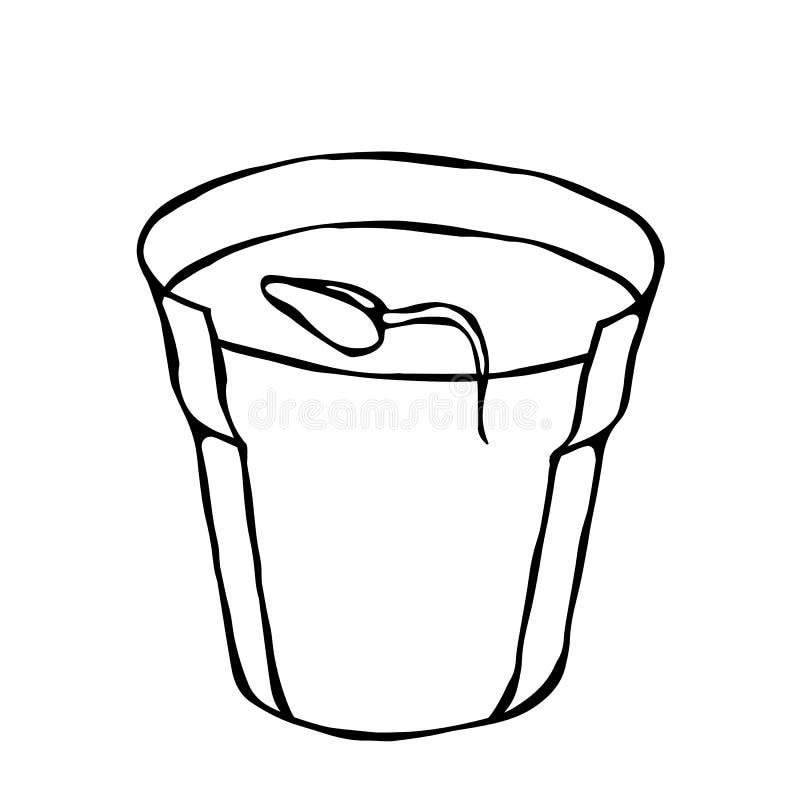 De pot van de bloem met grond Zaad, Spruit en Wortel Bloempot voor Ontspruitende Installatie Zaailing Fasen van de groei van een  royalty-vrije illustratie