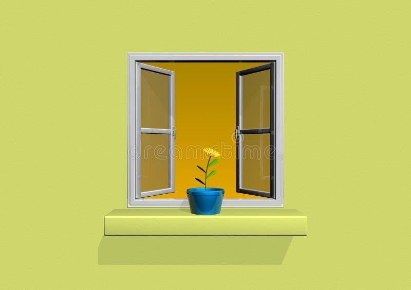 De pot van de bloem op venster vector illustratie