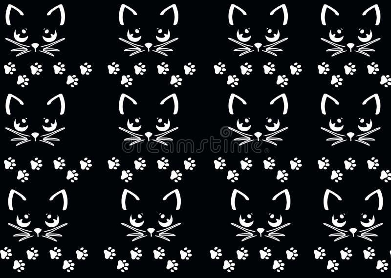De potenbehang van de patroon leuk kat royalty-vrije illustratie