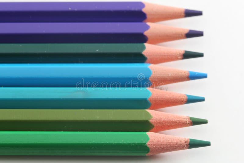 De potloden van blauw royalty-vrije stock afbeelding