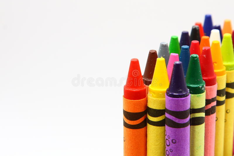 De potloden van de de kleurenwas van kinderen stock foto's