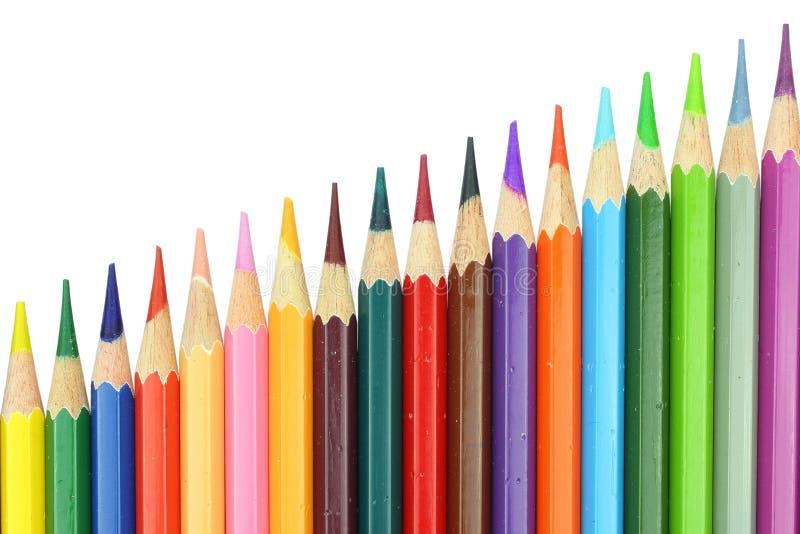 De potloden van de de stijlkleur van de lay-outgrafiek op witte achtergrond worden geïsoleerd die royalty-vrije stock afbeeldingen