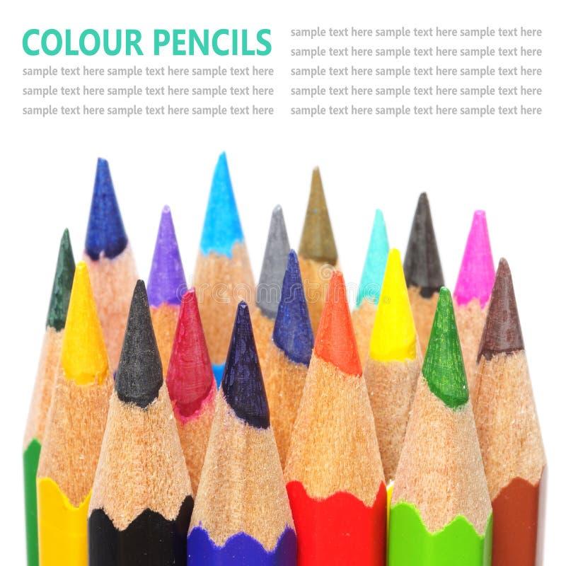 De potloden van de kleur die op witte achtergrond worden geïsoleerd royalty-vrije stock fotografie
