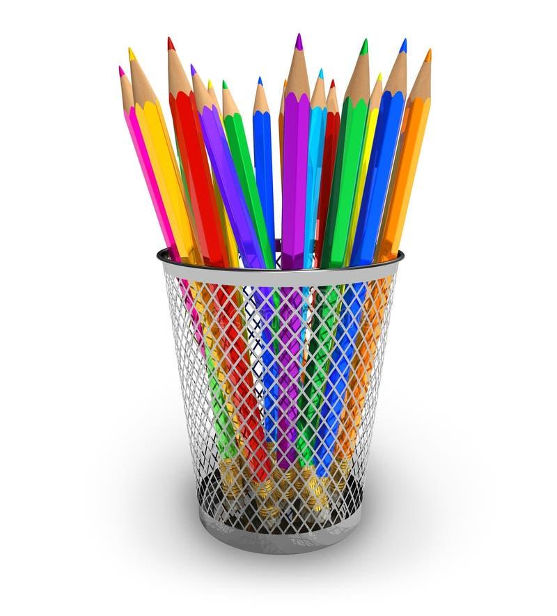 De potloden van de kleur in houder royalty-vrije illustratie