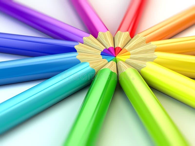 De potloden van de kleur op witte achtergrond stock illustratie