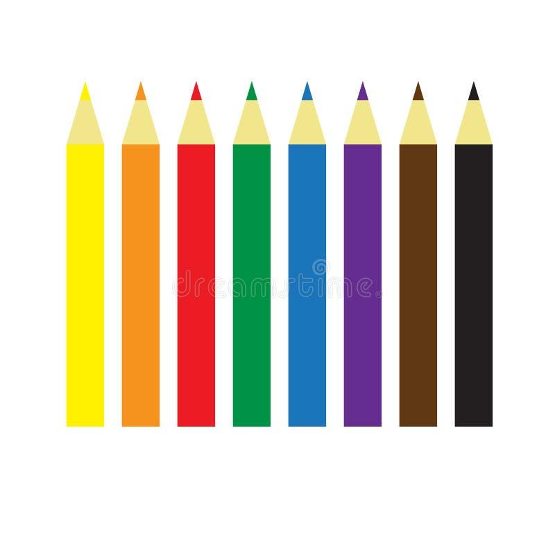 De potloden van de kleur Acht eenvoudige kleuren vector illustratie