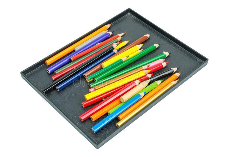 De potloden van de kleurentekening in zwarte doos royalty-vrije stock fotografie