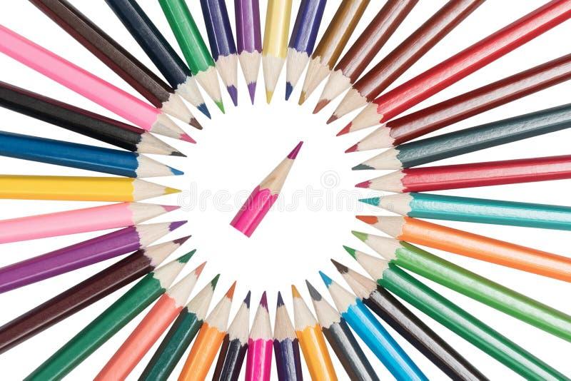 De potloden worden geschikt in een cirkel royalty-vrije stock foto's