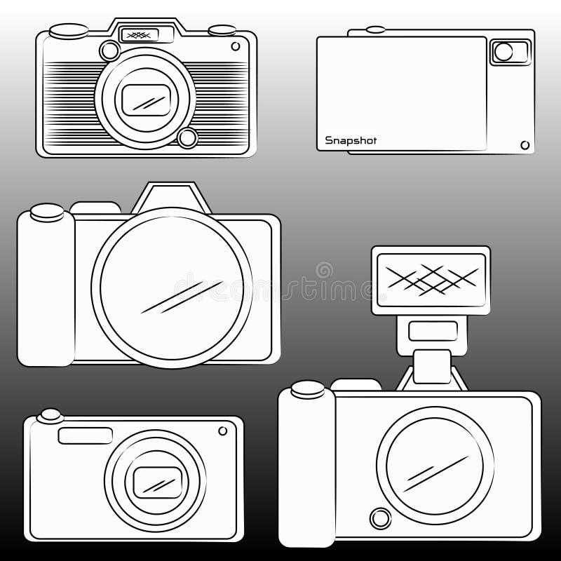 De potloodschets van DSLR en Camera vector illustratie