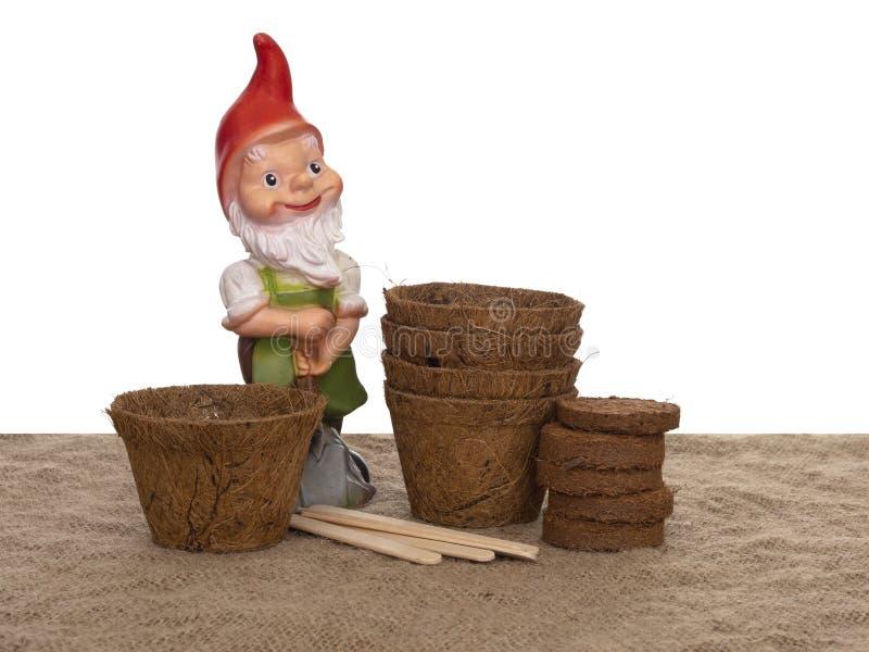 De potten van de coirinstallatie en samengeperst compost met houten etiketten en generische tuingnoom De milieuvriendelijke lente stock afbeeldingen