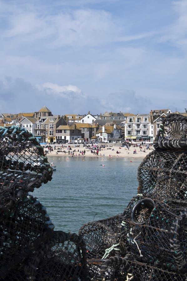 De Potten van de zeekreeft bij St Ives Haven royalty-vrije stock foto's