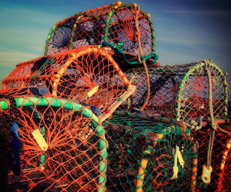 De potten van de zeekreeft in Brighton stock foto