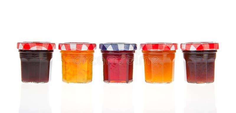 De potten van het glas van jam stock foto