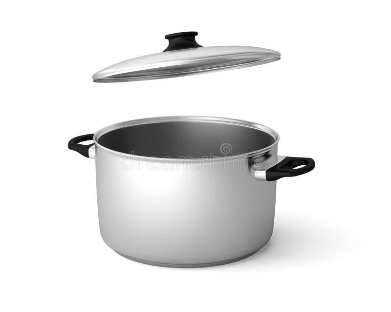 De pottensteelpan van de braadpan stewpan bouillonketel vector illustratie