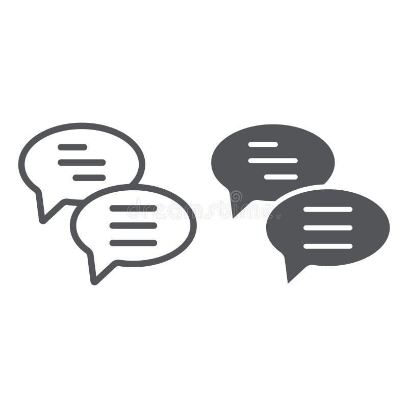 De praatjelijn en glyph het pictogram, het bericht en de mededeling, toespraakbellen ondertekenen, vectorafbeeldingen, een lineai royalty-vrije illustratie