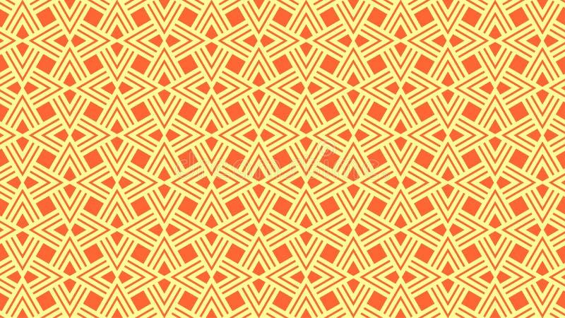 De prachtige achtergrond van veelhoeken bestaat uit vier ineengestrengelde ribben en elegante, oranje en witte kleuren stock illustratie