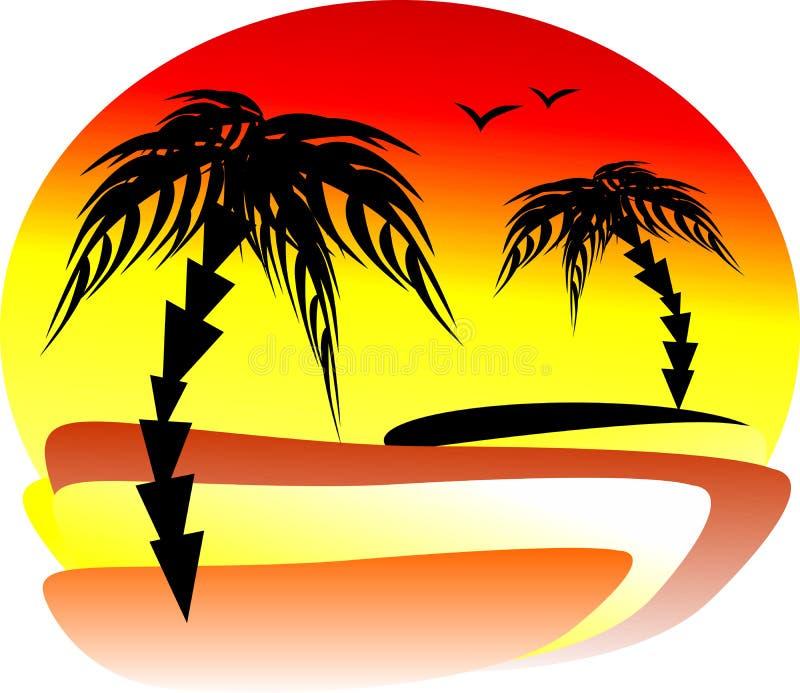 De prachtige zonsondergang bij de kust met twee palmen op dif vector illustratie