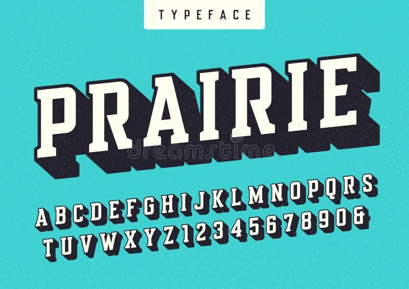 De prairievector condenseerde retro lettersoort, hoofdletters en n stock illustratie