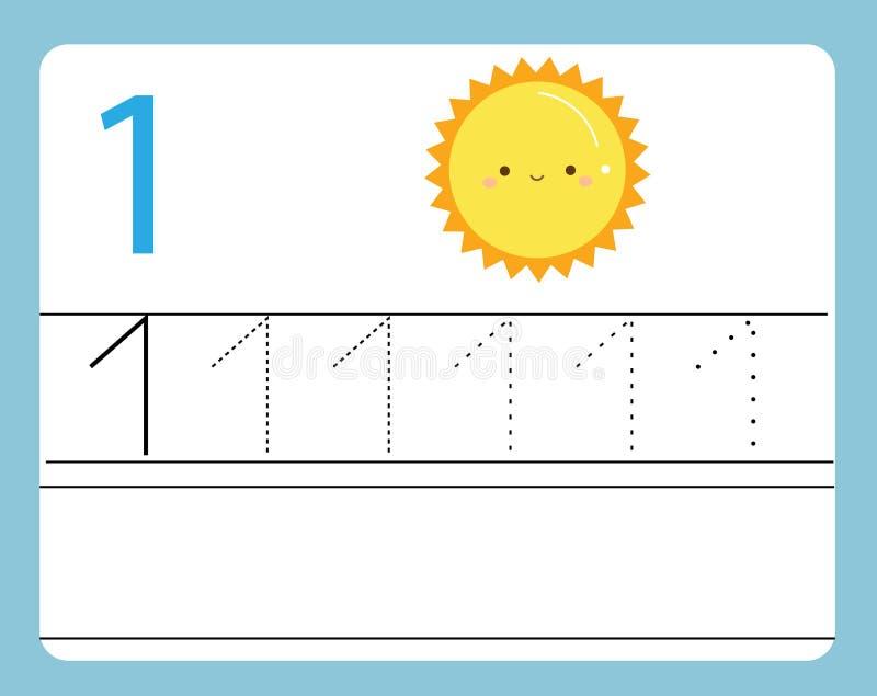 De praktijk van het handschrift Het leren aantallen met leuke karakters Nummer één… Onderwijs voor het drukken geschikt aantekenv stock illustratie