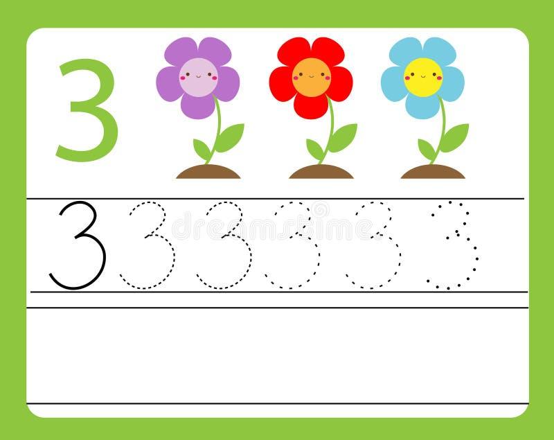 De praktijk van het handschrift Het leren aantallen met leuke karakters Nummer drie Onderwijs voor het drukken geschikt aantekenv vector illustratie