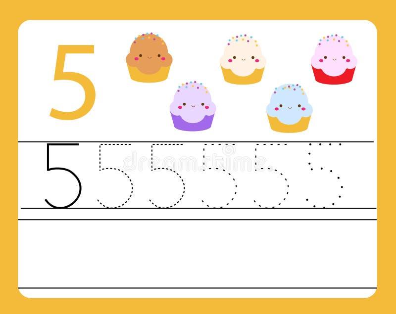 De praktijk van het handschrift Het leren aantallen met leuke karakters Nummer vijf Onderwijs voor het drukken geschikt aantekenv vector illustratie