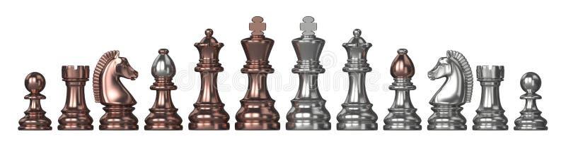De prata e de bronze todas as partes de xadrez 3D ilustração do vetor