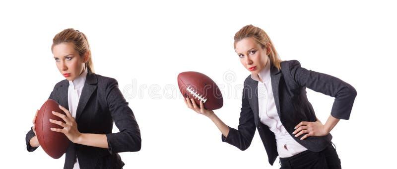 De preety die bureauwerknemer met rugbybal op wit wordt geïsoleerd stock fotografie