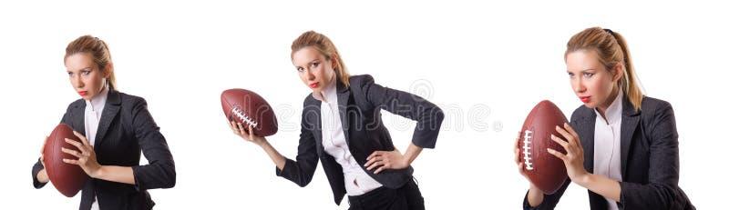 De preety die bureauwerknemer met rugbybal op wit wordt geïsoleerd royalty-vrije stock foto's