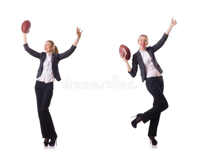 De preety die bureauwerknemer met rugbybal op wit wordt geïsoleerd stock afbeeldingen
