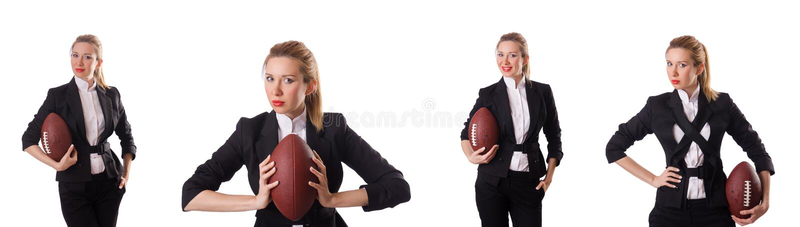 De preety die bureauwerknemer met rugbybal op wit wordt geïsoleerd stock foto