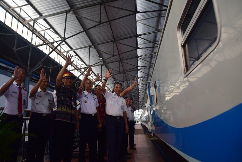 De première van Ambarawa-sneltreinreis stock foto's