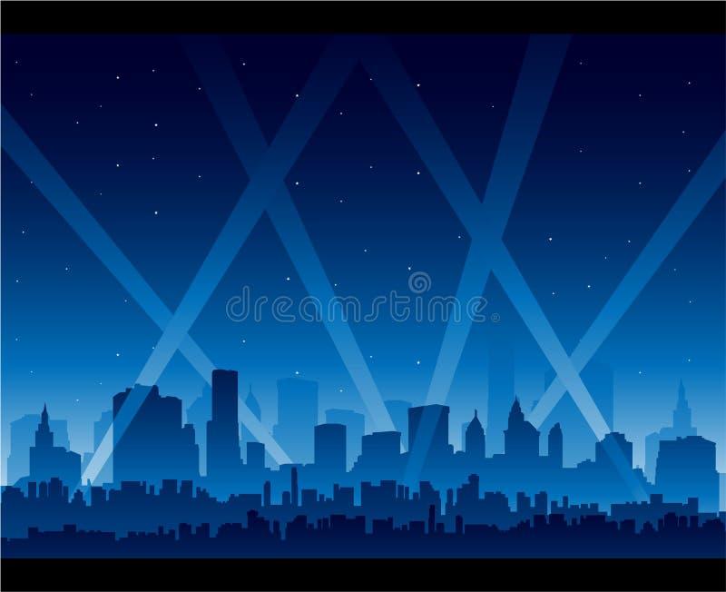 De première van de het nachtlevenfilm van de stad stock illustratie