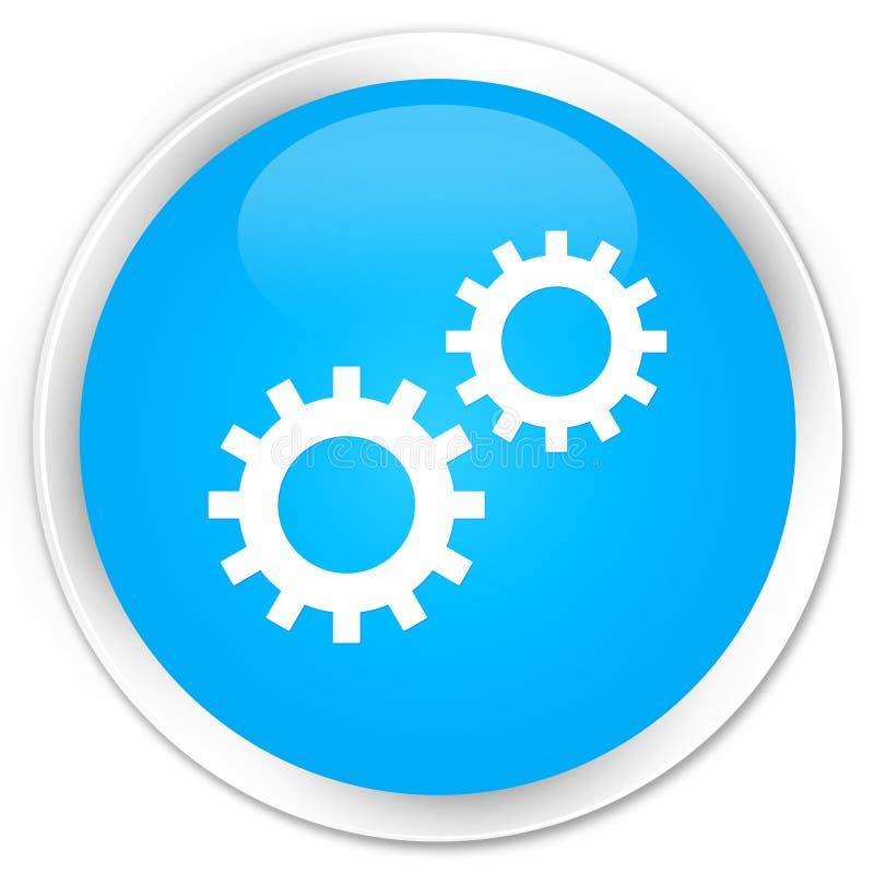 De premie cyaan blauwe ronde knoop van het procespictogram stock illustratie