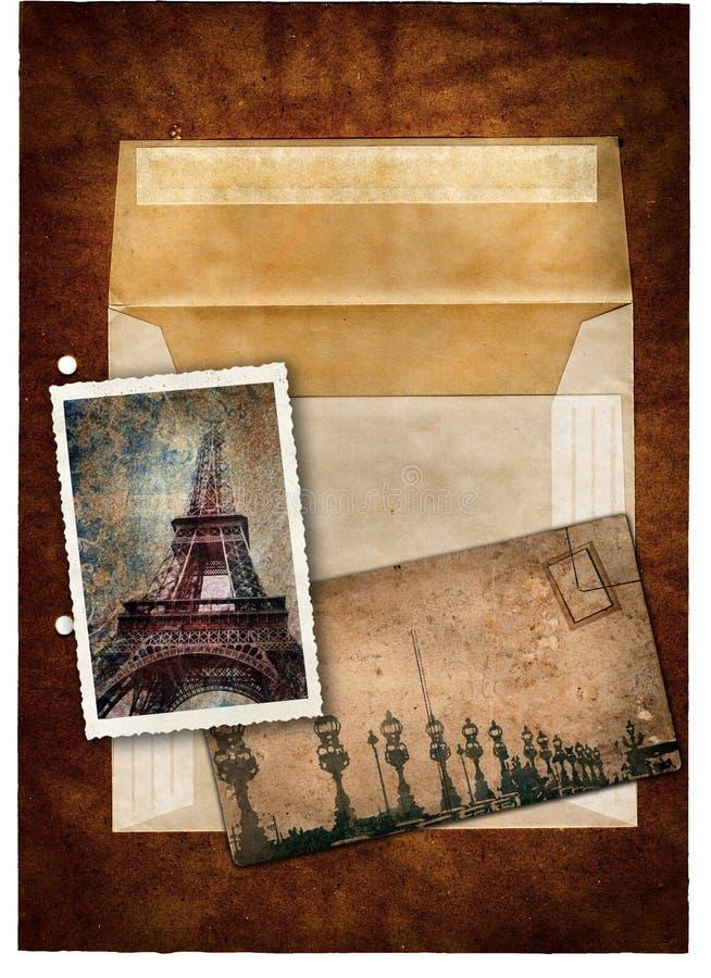 De prentbriefkaar en het beeld van Grunge van Parijs vector illustratie