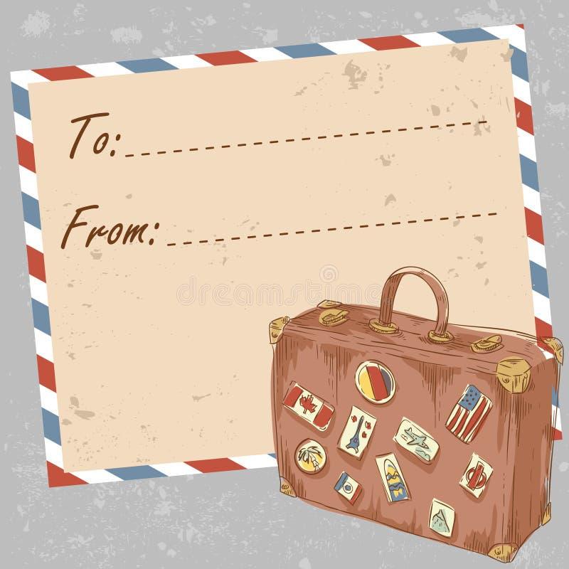 De prentbriefkaar van de de postreis van de lucht met oude grungeenvelop vector illustratie