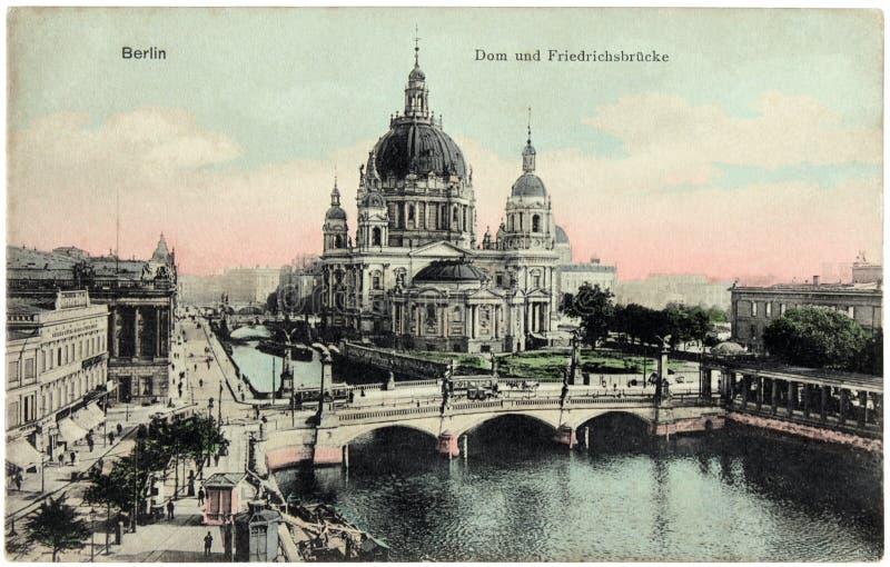 De Prentbriefkaar van de Kathedraal van Berlijn stock afbeelding