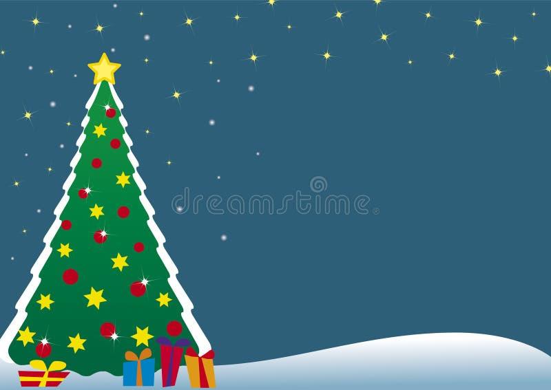 De prentbriefkaar van de kerstboom vector illustratie