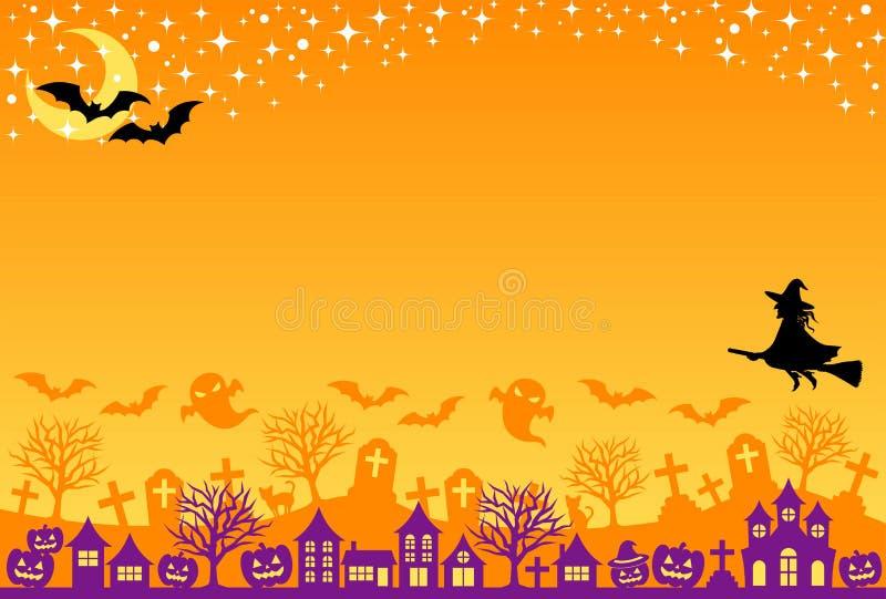 De prentbriefkaar van Halloween vector illustratie