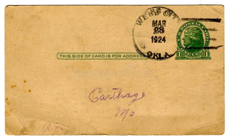 de Prentbriefkaar van jaren '20, Één Cent annuleert royalty-vrije stock afbeelding