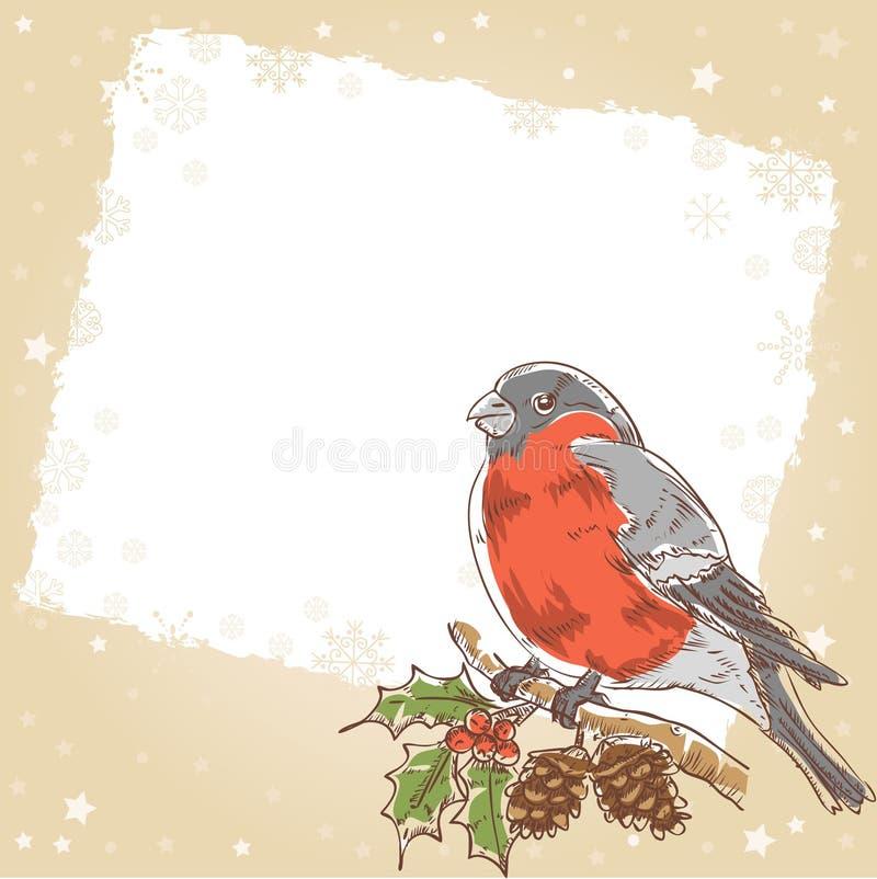 De prentbriefkaar van Kerstmis met goudvinkvogel vector illustratie