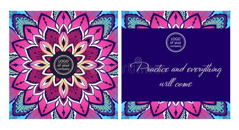 De prentbriefkaar van de ontwerpyoga kleurde decoratieve Mandala royalty-vrije illustratie