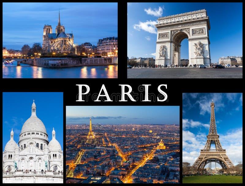 De prentbriefkaar van Parijs: Notre Dame, de Toren van Eiffel, Basiliek van Heilig Hart, Boog van Triumph en een horizon van de s stock afbeelding