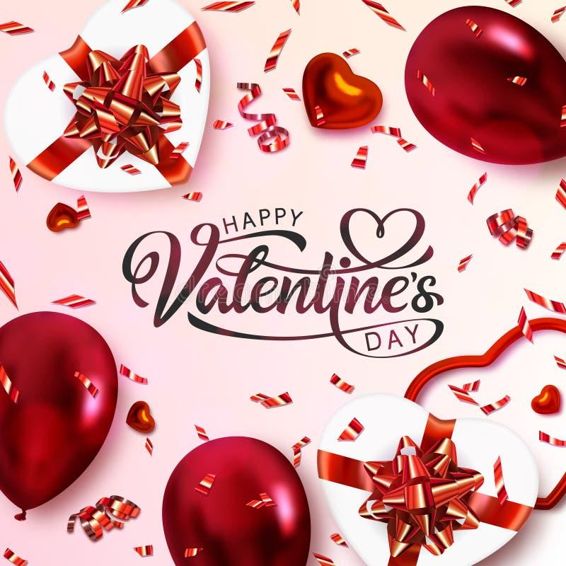 De prentbriefkaar van de valentijnskaartendag royalty-vrije illustratie