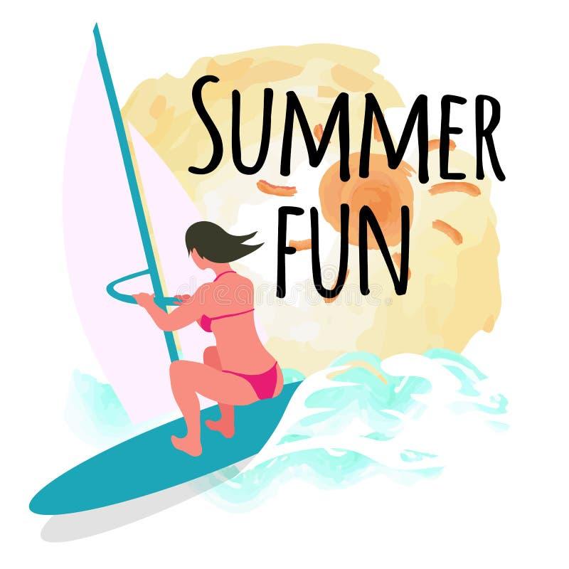 De Prentbriefkaar van de de zomerpret, Zon en Windsurfing-Vrouw stock illustratie