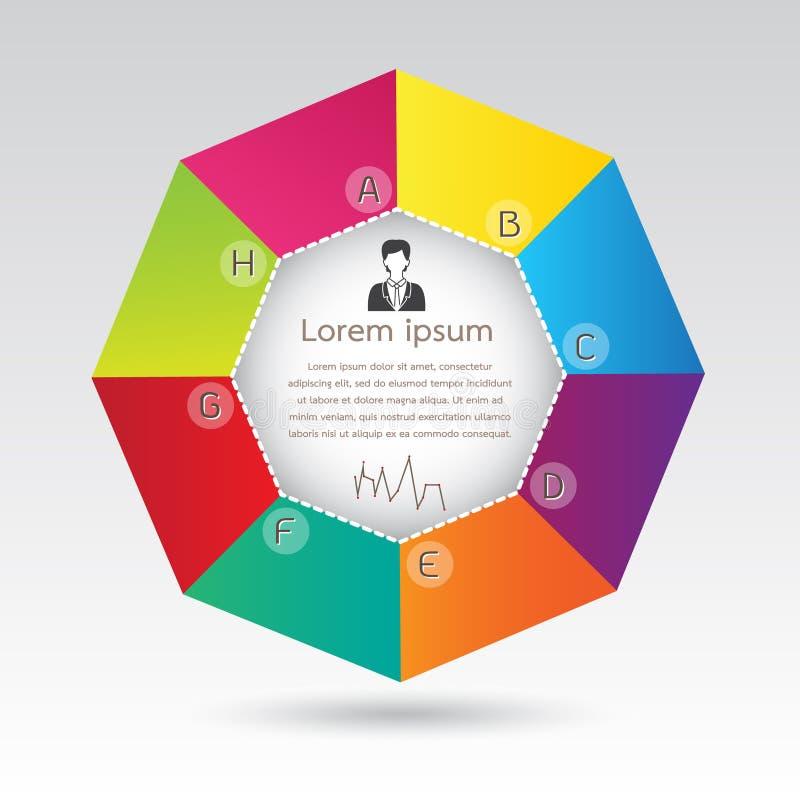 De Presentatie van Infographic van het bedrijfsachthoekdiagram royalty-vrije illustratie